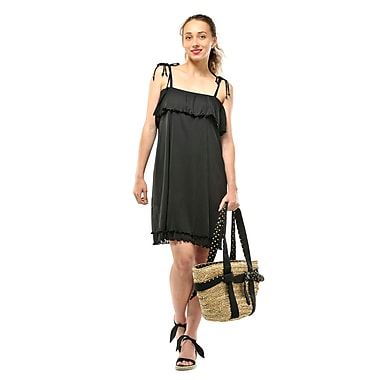 Toujours Elegant Flounce Dress, Black, Small, (4382)