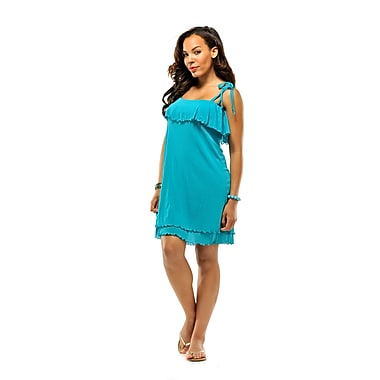 Toujours Elegant Flounce Dress, Teal, Small, (4382)