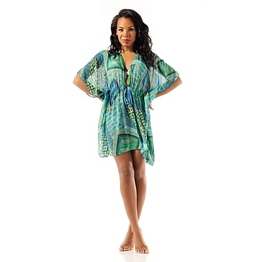 Toujours Elegant Tie Front Tunic, Turquoisepatchwork, Large/X-Large, (4720)