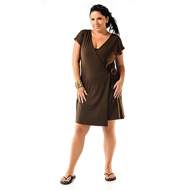 Toujours Elegant Jersey Knit Cover Up, Brown, Small, (4726)