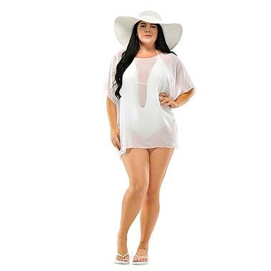 Toujours Elegant Sheer Cover Up, White, OS, (4731)