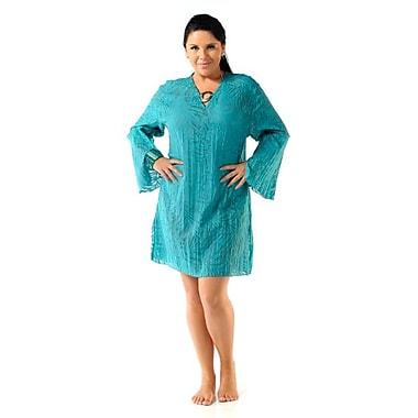 Toujours Elegant Cotton Tunic, Turquoise, Small, (4767)