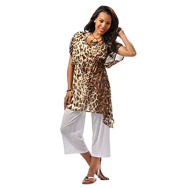 Toujours Elegant Relaxed Fit Cover Up, Beigeleopard, Large/X-Large, (4780)