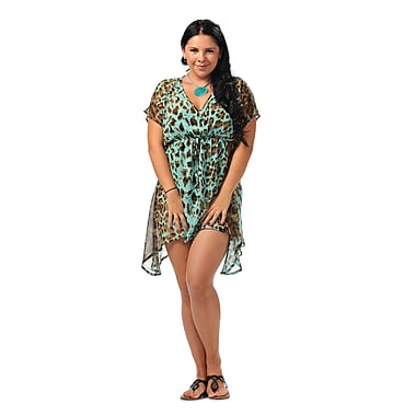 Toujours Elegant Relaxed Fit Cover Up, Turqleopard, Small/Medium, (4780)
