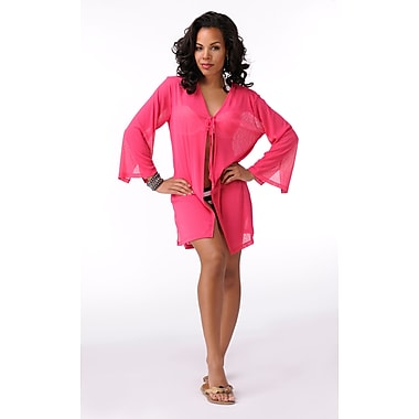 Toujours Elegant Sleeved Cover Up, Pink, Small, (4781)