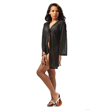 Toujours Elegant Sleeved Cover Up, Black, Large, (4781)