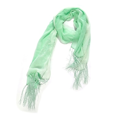 Toujours Elegant Embroidered Silk Wrap/Scarf, Mint, OS, (7090)