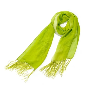 Toujours Elegant Embroidered Silk Wrap/Scarf, Lime, OS, (7090)