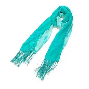 Toujours Elegant Embroidered Silk Wrap/Scarf, Turquoise, OS, (7090)
