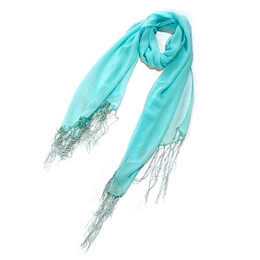Toujours Elegant Scarf With Pearl Fringe, Turquoise, OS, (7080)