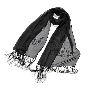 Toujours Elegant Embroidered Silk Wrap/Scarf, Black, OS, (7090)