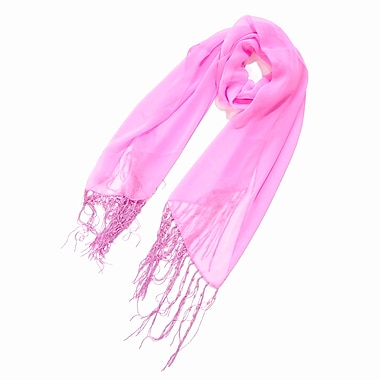 Toujours Elegant Scarf With Pearl Fringe, Pink, OS, (7080)