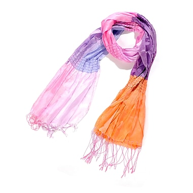 Toujours Elegant Silk Patchwork Scarf, PurpleOrangePink, OS, (7060)