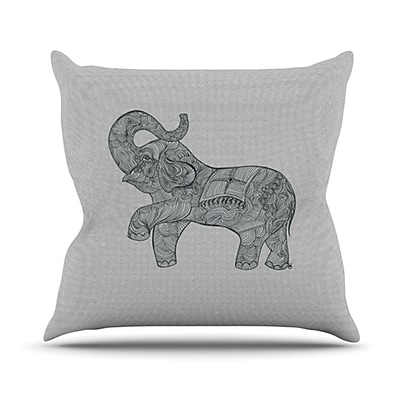 KESS InHouse Elephant Throw Pillow; 18'' H x 18'' W