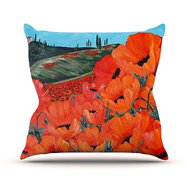 KESS InHouse Poppies Throw Pillow; 18'' H x 18'' W