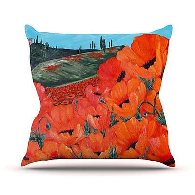 KESS InHouse Poppies Throw Pillow; 26'' H x 26'' W