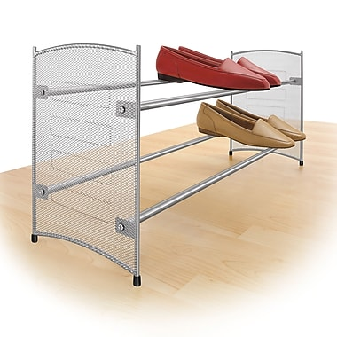 Lynk Expandable and Stackable 2-Tier Shoe Rack; Platinum