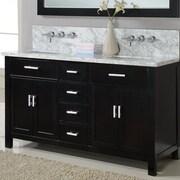 Direct Vanity Sink Hutton Spa 63'' Double Premium Bathroom Vanity Set w/ Mirror; Ebony