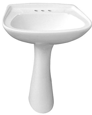 Barclay Hartford Vitreous China Circular Pedestal Bathroom Sink w/ Overflow