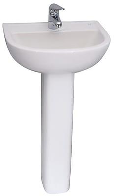 Barclay Vitreous China Circular Pedestal Bathroom Sink w/ Overflow
