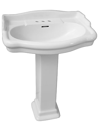 Barclay Stanford 660 Vitreous China Rectangular Pedestal Bathroom Sink w/ Overflow