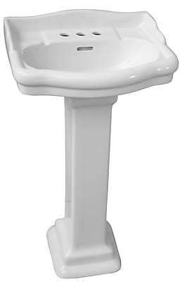 Barclay Stanford 660 Vitreous China Rectangular Pedestal Bathroom Sink w/ Overflow