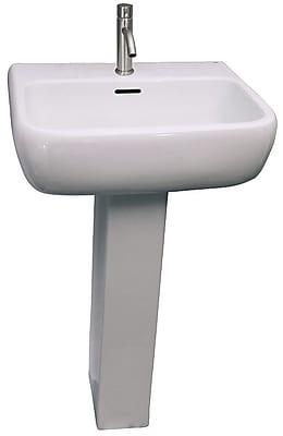 Barclay Metropolitan 520 Vitreous China Rectangular Pedestal Bathroom Sink w/ Overflow