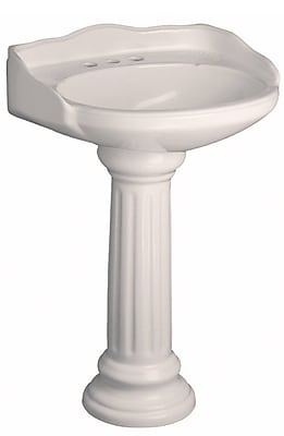 Barclay Vicki Vitreous China Circular Pedestal Bathroom Sink w/ Overflow; Bisque