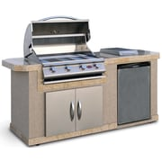CalFlame Outdoor Kitchen Islands 4-Burner Built-In Propane Gas Grill w/ Side Shelves