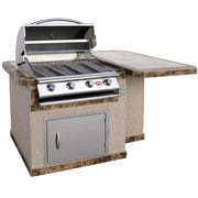 CalFlame 4-Burner Built-In Propane Gas Grill w/ Cabinet