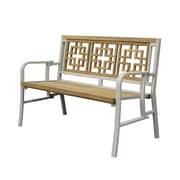 Asta Furniture, Inc. California Teak/Iron Metal Garden Bench; Ecru