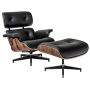 Edgemod Windsor Lounge Chair and Ottoman Set; Walnut