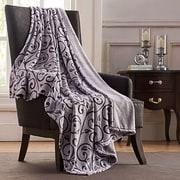 VCNY Sandra Scroll Throw Blanket; White / Purple