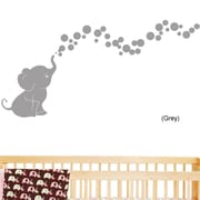 DecaltheWalls Elephant Bubbles Nursery Room Removable Wall Decal; Gray