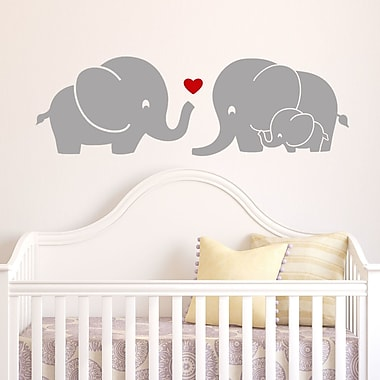 DecaltheWalls Elephant Family w/ Red Heart Wall Decal; Gray