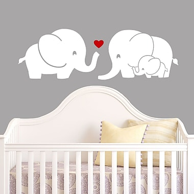 DecaltheWalls Elephant Family w/ Red Heart Wall Decal; White