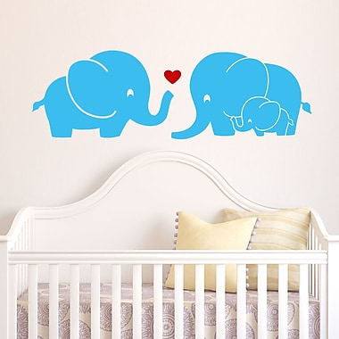 DecaltheWalls Elephant Family w/ Red Heart Wall Decal; Light Blue