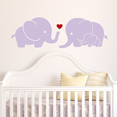 DecaltheWalls Elephant Family w/ Red Heart Wall Decal; Lilac