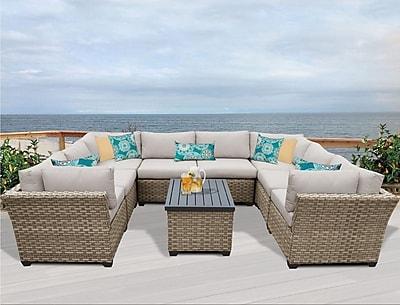 TK Classics Monterey 9 Piece Sectional Set w/ Cushions; Beige