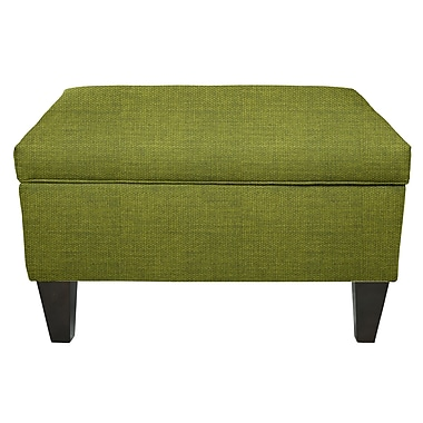 MJLFurniture Key Largo Legged Box Storage Ottoman; Grass