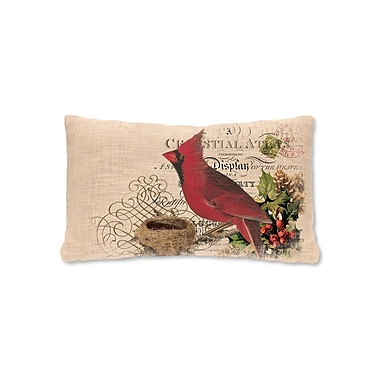 Heritage Lace Winter Garden Cardinal Pillow Cover; 12'' H x 20'' W