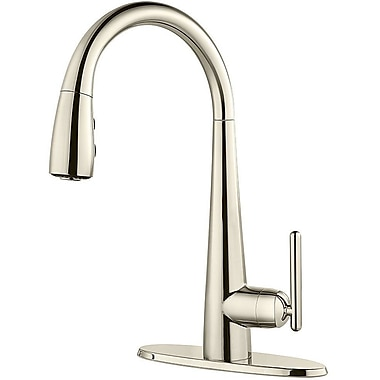 Pfister Lita Single Handle Deck Mounted Kitchen Faucet w/ Soap Dispenser; Polished Nickel