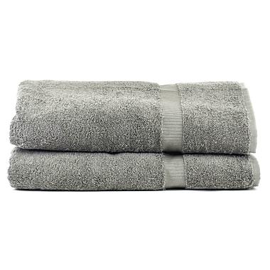 Bare Cotton Luxury Hotel and Spa Turkish Cotton Dobby Border Bath Sheet (Set of 2); Gray