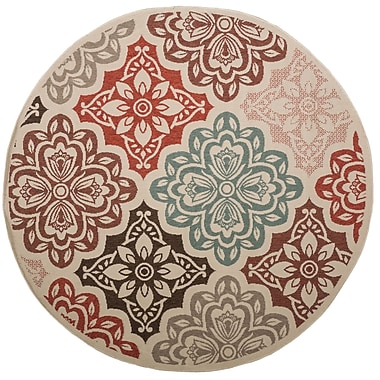 Home Loft Concepts Roxanne Finly Red Area Rug; Round 94''