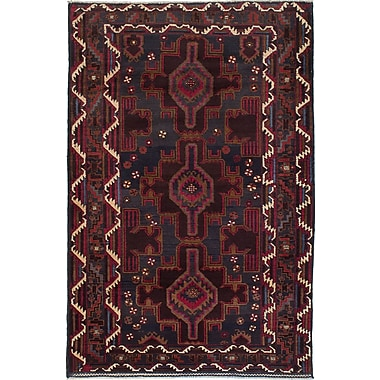 ECARPETGALLERY Rizbaft Hand-Knotted Brown Area Rug