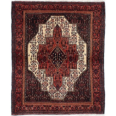ECARPETGALLERY Senneh Persian Hand-Knotted Red and Blue Area Rug