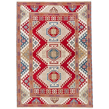 ECARPETGALLERY Kazak Hand-Knotted Red Area Rug
