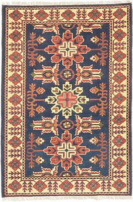 ECARPETGALLERY One-of-a-Kind Kargahi Hand-Knotted Blue Area Rug