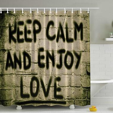 Ambesonne Keep Calm and Enjoy Love on Brick Print Shower Curtain