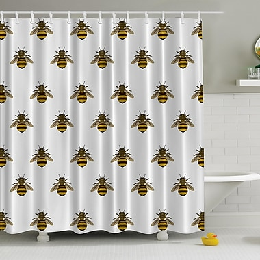 Ambesonne Honeybees Aligned Print Shower Curtain